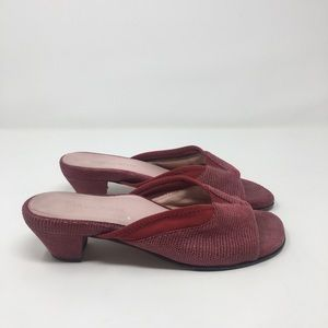 Taryn Rose Red Textured Leather Heeled Slides 8.5